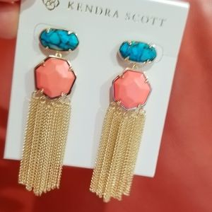 Bright Coral Bronze Veined Turquoise Tae Earrings